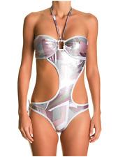 """Maillot de bain 1 pièce trikini blanc et lilas """"SOLEIL SUCRE by Elisa"""" Taille M"""