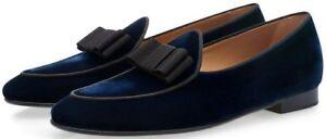 Handmade men navy blue shoes, velvet casual shoes for men, men moccasin slip on