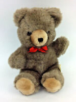 "GUND Teddy Bear 1980 9"" brown Red Bow Plush Stuffed Animal Vintage"