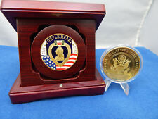 """PURPLE HEART SPECIAL PRESENTATION CHALLENGE COIN IN A SOLID WOOD BOX 1.50"""" COIN"""