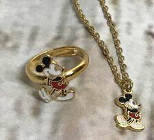 Walt Disney Production Adjustable Ring & Pendant Necklace Enamel Mickey Mouse