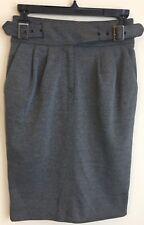 Maeve Anthropologie Women Gray Knee Length Buckle Pleated Zip Slit Skirt Size 0