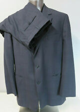 Mens Brooks Brothers 346 2 Button Suit Windowpane Blue Pleated Front Wool 46 L