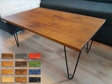 Rustic Vintage Industrial Wooden Coffee Table Metal Hairpin Legs