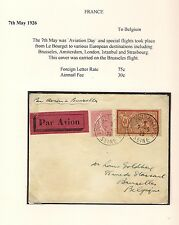 France Bourget Aviation Day 1925 AIRMAIL Flown Flight Cover to Bruxelles Belgium
