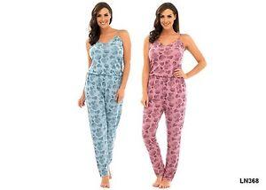 Damen Onesie Jumpsuit Jersey Overall Nachtwäsche Freizeit Baumwolle Blumen Print