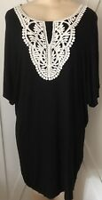 WOMENS PLUS DRESS 2X NEW BLACK TUNIC OFF WHITE LACE 18 XXL NWT CUTE HOLIDAY DEAL