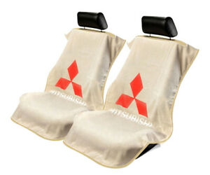 Seat Armour 2 Piece Front Car Seat Covers For Mitsubishi - Tan Terry Cloth