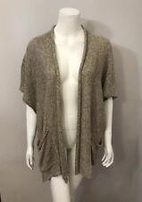 Eskandar Beige Brown 100% Linen Long Cardigan Sweater With Pockets One Size