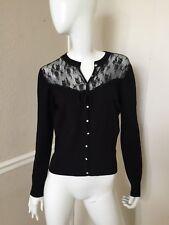 Charlotte Tarantola Black Rayon Lace Contrast Panel Buttoned Cardigan Sweater M