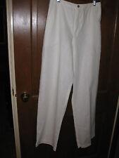 Travelsmith Pants Sz S White 100% Linen Elastic Back Belt Loop straight leg New