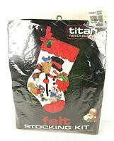 """NEW Vintage Titan Felt Stocking Kit Snowman w/ Animals 15"""" 1986 Christmas 19A"""