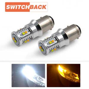 Switchback LED Front Turn Signal Light Bulbs 1157 2357 Amber White Free Return
