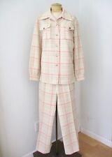 Vtg 70s Pink Green Check Poly Knit 2-Pc Blazer Jacket Wide Leg Disco Pantsuit L