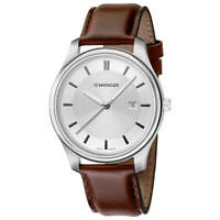 Wenger 01.1441.122 Men's City Classic Brown Leather Strap Watch