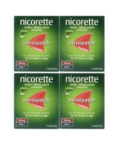 Nicorette InvisiPatch Step 1 25mg 7 Nicotine Patches (Bundle of 4)