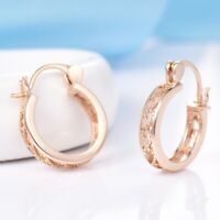 New Retro Design 18K Yellow Gold Filled Round Hoop Dangle Earrings For Women