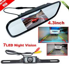 "4.3"" TFT LCD Monitor Mirror+Wireless Reverse Car Rear View Backup Camera Kit OY"