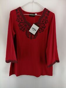 Bob Mackie's Embroidered Scalloped Neck Knit Tunic Red XS A365341