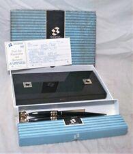 1950s Sheaffer Lifetime Double Ballpoint Desk Pen Set W/ Black Onyx Base - Mib