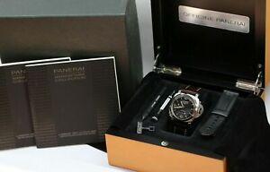Brown Wooden Panerai Luminor Watch Box Genuine Black Leather Case Full Set 1850