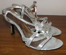 KELLY & KATIE STRAPPY WOMEN SHINY SILVER SEXY HIGH STELETTO HEEL SHOES SIZE 9.5M