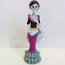 """Day of the Dead SKELETON GLITTER LADY Blue & Pink Skirt 5.25"""" Tall"""
