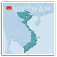 2 x 10cm Vietnam Map Vinyl Stickers - Hanoi Travel Sticker Laptop Luggage #17295