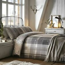 Dreams & Drapes Tartan Check Grey, Hedgehogs 100% Brushed Cotton Duvet Cover Set