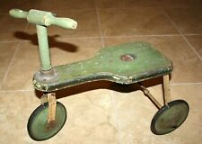 Vintage Green Antique GENDRON PIONEER LINE Child Wooden Tricycle Bike NICE