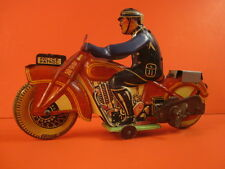ALL ORIGINAL METTOY POLICE PATROL MOTORCYCLE WIND UP TIN LITHO 1950