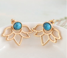 Lotus Flower Turquoise Earrings front back set ear jacket Cuff gold stone
