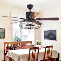 "52"" Industrial Metal Cage Ceiling Fan Lamp 5-Light Pendant Chandelier w/ Remote"