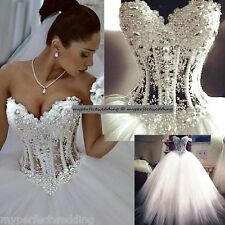 ALL SIZES Heavily Pearl Beaded Wedding Dress See Through Lace Corset Puffy Gown