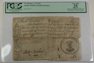 1775 5 Pounds South Carolina Colonial Currency Note SC-98 PCGS VF-25 Apparent