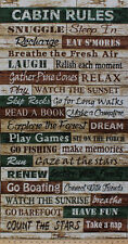 """23.5"""" X 44"""" Panel Cabin Rules Camping Words Word Cotton Fabric Panel D566.67"""