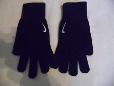 NIKE KNITTED BLACK WINTER GLOVES SWOOSH LOGO FOOTBALL/TRAINING SIZE  S/M