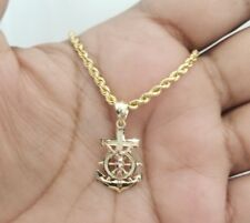 """Real 14k Gold Anchor Ship Jesus Cross Crucifix Charm Pendant Rope Chain 20"""" Inch"""