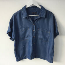 M&S Sz 12 Petite Blue Denim Lyocell Boxy Shirt Top Blouse