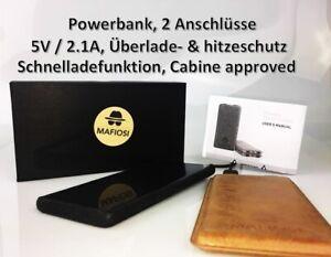 Powerbank 2x 2.1A USB Überspannungs- & Ladeschutz Samsung AKKU Leder- Optik XIAO