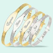 Personalised Christening Bangle Baby Toddler Childrens 925 Silver Bracelet Gift