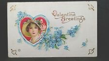 Valentine Greetings 1917 Series 637C Post Card Girl with hat Flowers Gold Hearts