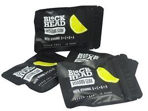 BlockHead Vitamin Gum with Vitamins D+C+B+A 10 Pieces -Lemon Flavour (Pack of 4)