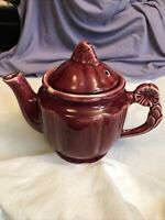 Vintage Shawnee Usa Tea Pot Burgundy With Flower Handle And Lid