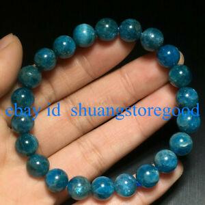 Genuine 6/8/10mm Natural Blue Apatite Round Gems Beads Stretch Bracelet 7.5'' AA