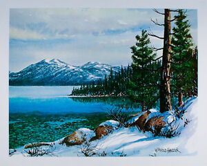 VINTAGE Lake Tahoe NEVADA California ART PRINT Poster WESTERN Landscape MINT