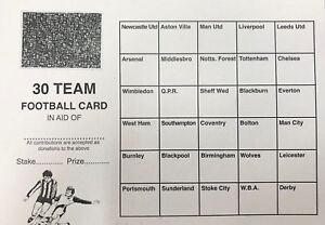 FOOTBALL SCRATCH CARDS 30 TEAMS PACK OF 25 FUNDRAISING SCRATCH CARDS