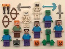 Lego Minecraft Minifigure Lot B ~ Steve Skeleton Zombie x 2 Creeper Weapon