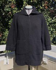Chaiken Black Blouson Zip Cardigan Sweater Wool Cashmere Size M
