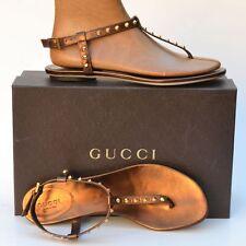 GUCCI New sz 38.5 - 8.5 Womens Bronze Studded Flats Shoes Designer Thong Sandals